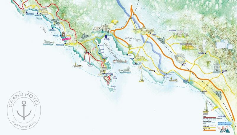 Where is Portovenere in the Gulf of Poets, Liguria