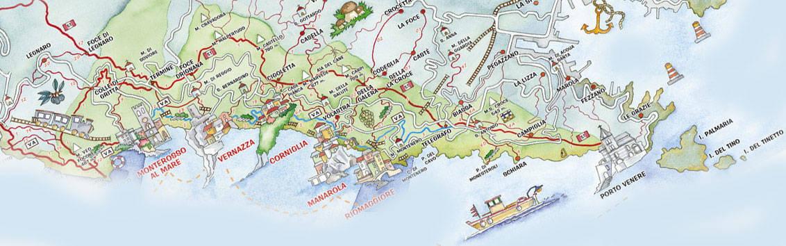 Cinque Terre and Portovenere on the Map