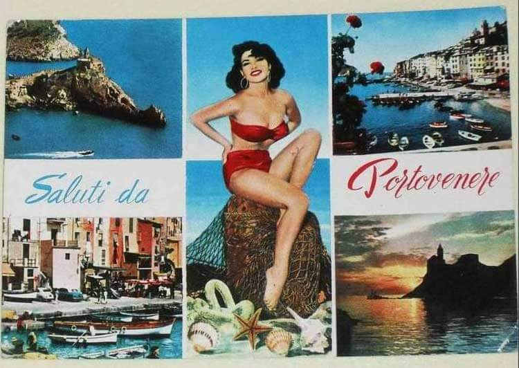 Portovenere, Liguria - Colored pinup postcard from the early 1960s