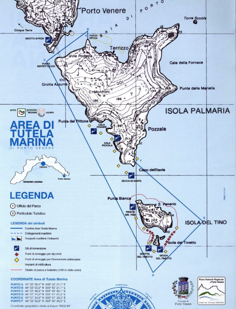 Map of the Protected Marine Area of Portovenere