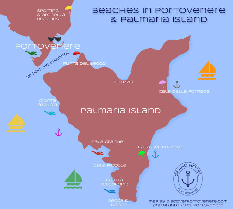 Map of the best beaches in Portovenere and Palmaria Island