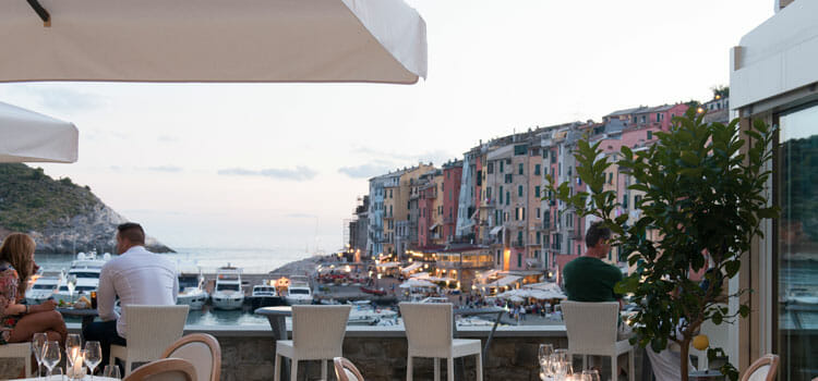 The panoramic, sea-view terrace at Venus Bar
