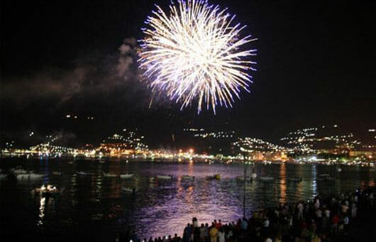 Fireworks at the end of the Palio of La Spezia