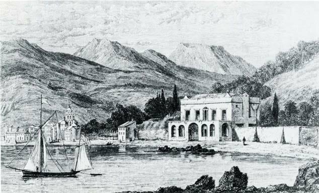 Villa Magni, Shelley's house near Lerici (Liguria), drawn by Daniel Roberts