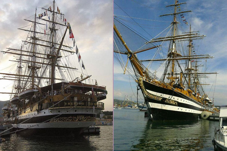 Majestic historic sail boats at La Spezia Marine Festival, Liguria