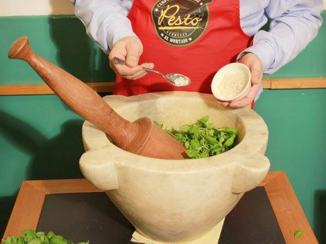 Pesto Recipe: marble Mortar and wood Pestle required!