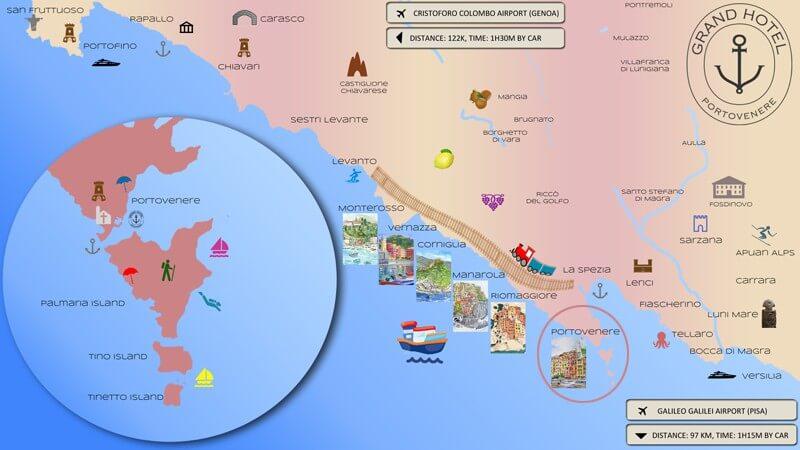 Map of Portovenere, Gulf of Poets and Cinque Terre, Liguria