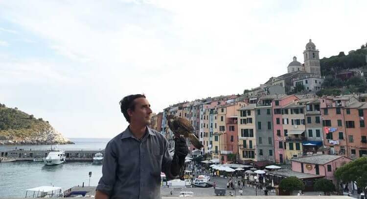 Stefano Rossi e poiana a Portovenere - Buzzard bird control